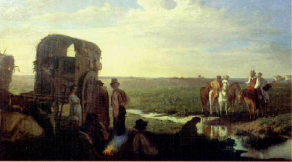 historic painting Gaucho horseback Pampa